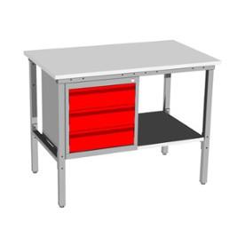 Stół warsztatowy SC-2 z szafką kontenerową i półką
