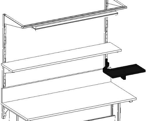 zastosowanie półki na ramieniu dla stołów warsztatowych i montażowych