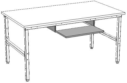 zastosowanie szuflady na klawiaturę dla stołów montażowych i warsztatowych