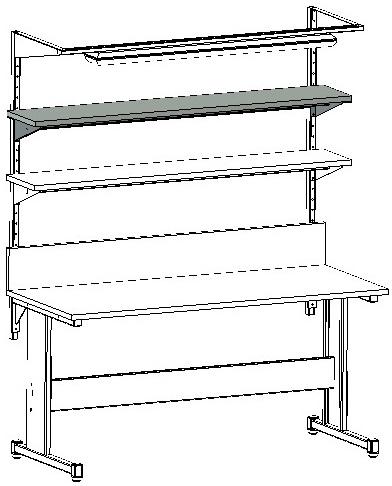 zastosowanie półki nad blatem stołu montażowego i warsztatowego