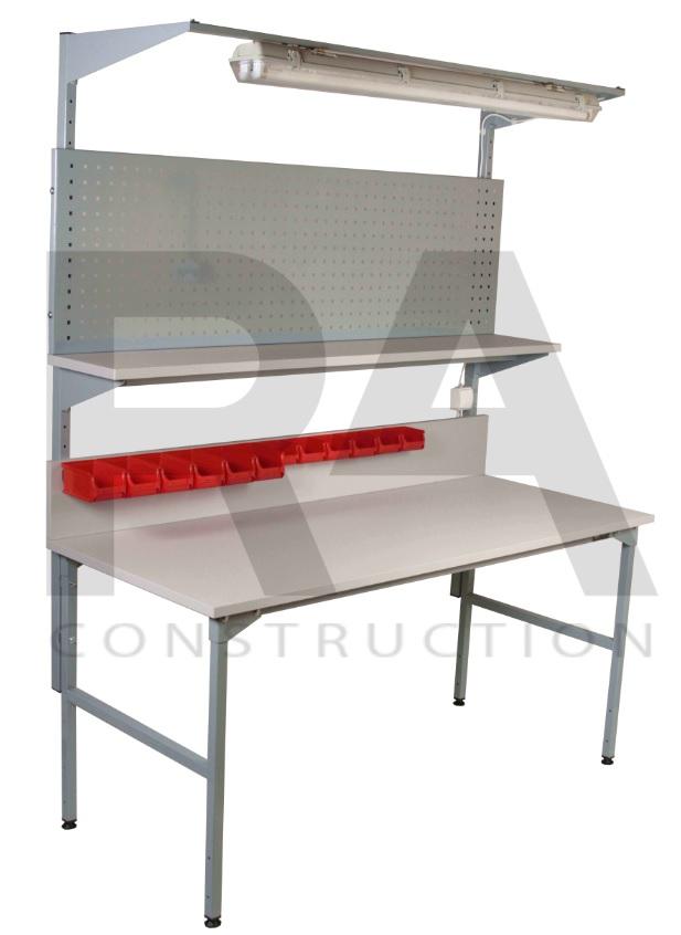 stoły montażowe z panelem perforowanym i oświetleniem ra construction realizacja