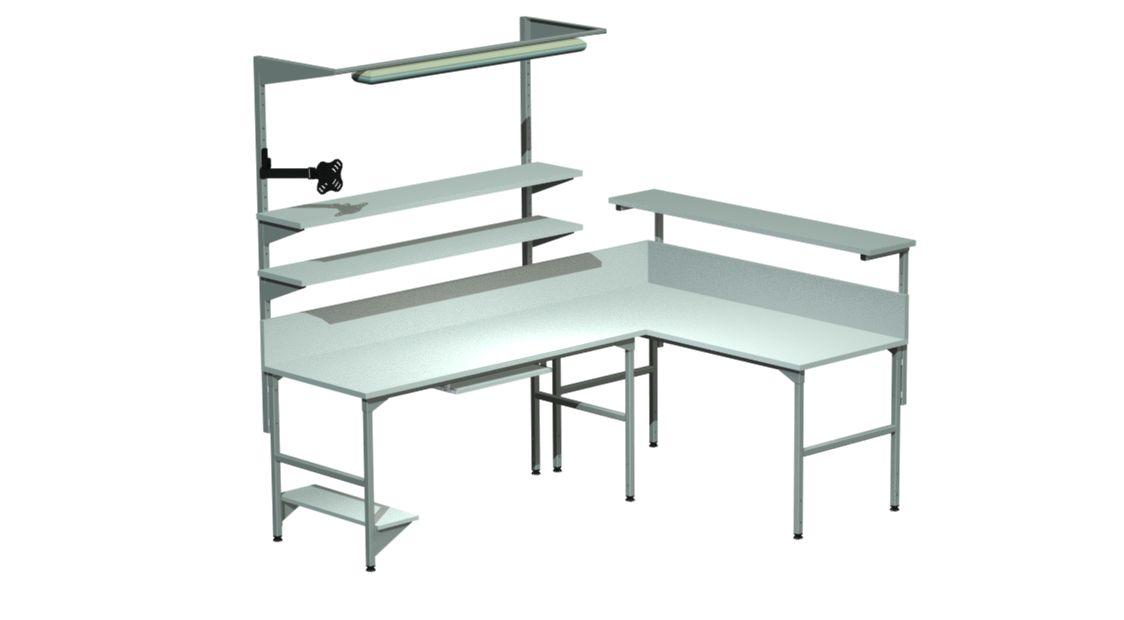 stoły montażowe, produkcyjne z oświetleniem